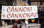 Rome, 2003; colors against the gray of war (cannoni=guns, cannonau=wonderful sardinian wine!)