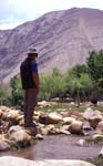 Along the Sham Valley, Ladakh; me, water, trees and rocks